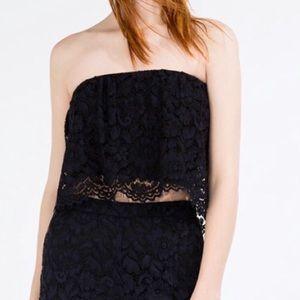 Zara women's lace strapless crop top